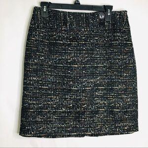 Ann Taylor multicolored black woven knit skirt